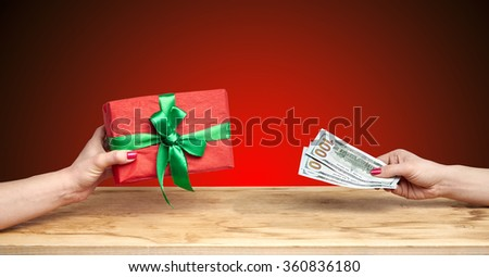 buy a gift on a red background
