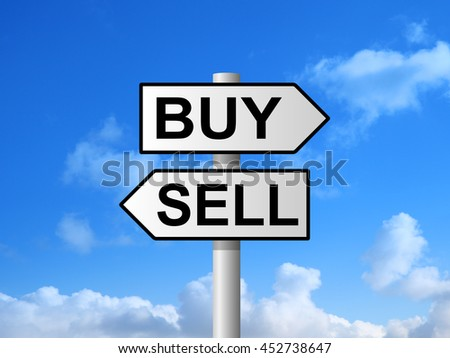 Buy and sell choice sign post against blue sky