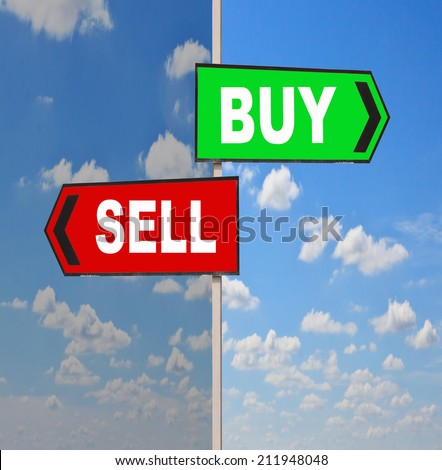 Buy and Sell directions. Opposite traffic sign.