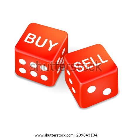 buy and sell words on two red dice isolated on white background - stock photo