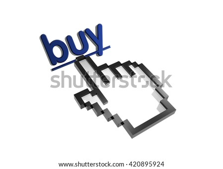 buy. 3d rendered inscription. Link and finger, pointer. Isolated on white - stock photo