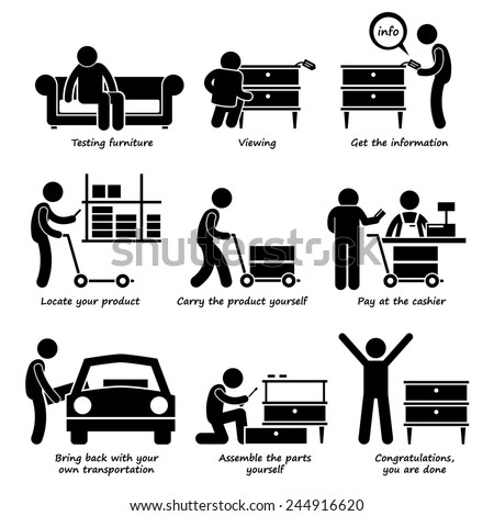 Buy Furniture From Self Service Store Step by Steps Stick Figure Pictogram Icons - stock photo