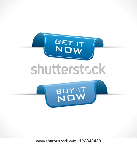 Buy it now and get it now blue labels - stock photo