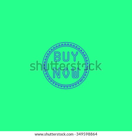 Buy Now Badge Label or Sticker. Simple outline illustration icon on green background
