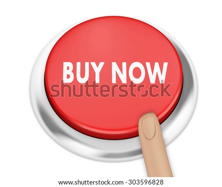buy now button on isolate white background - stock photo