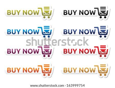 Buy now icon set - stock photo