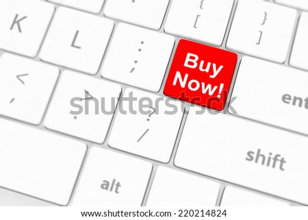 Buy now key on a white keyboard