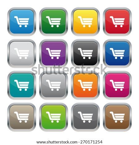 Buy now metallic square buttons - stock photo