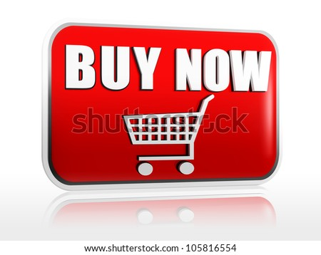 Buy now red 3d banner with text and cart - stock photo