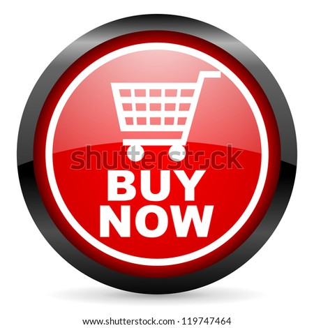 buy now round red glossy icon on white background - stock photo