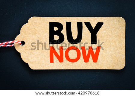 BUY NOW written on shopping sale tag - stock photo