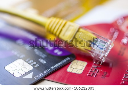 Buy online concept with credit cards and internet connection