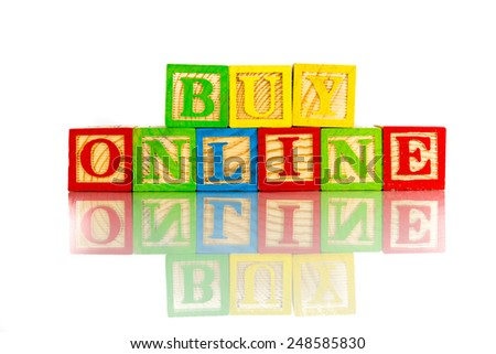 buy online word reflection on white background - stock photo