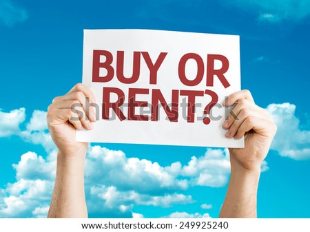 Buy or Rent? card with sky background - stock photo