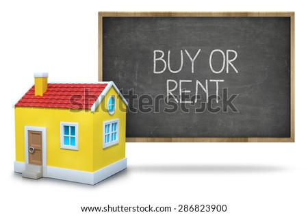 Buy or rent on black Blackboard with 3d house - stock photo