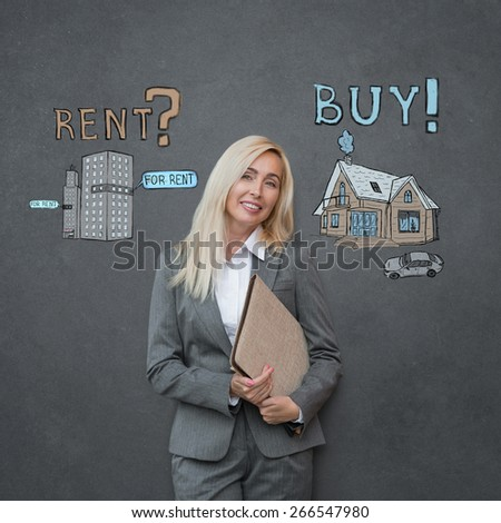 Buy or rent realty. Business woman thinking and choosing, Mortgage concept - stock photo