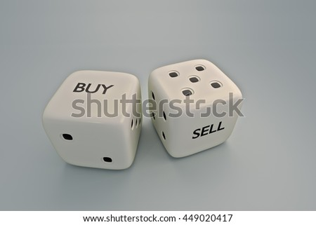 BUY or SELL dice,3D rendering isolated on gray  background