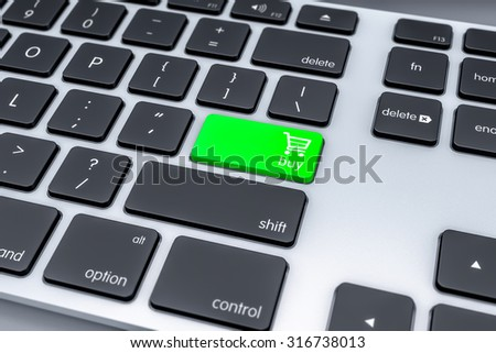 Buy or Shopping Computer Keyboard Button. 3d Background.