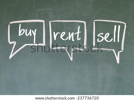 buy, rent and sell choice sign on blackboard  - stock photo