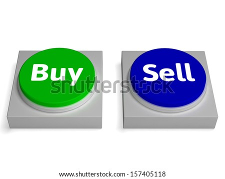 Buy Sell Buttons Showing Buying Or Selling - stock photo
