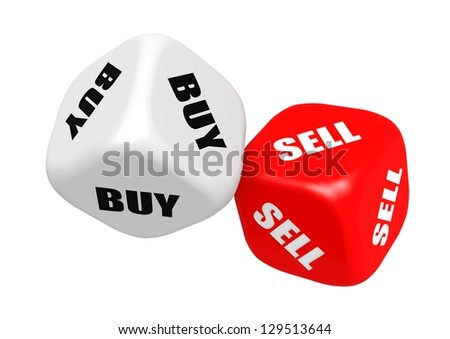 Buy sell dices - stock photo