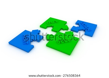 Buy,sell, loah  or rent concept puzzle - stock photo