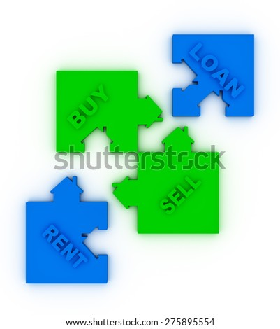 Buy,sell, loan  or rent concept puzzle