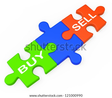 Buy Sell Showing Business Trade Or Stocks - stock photo