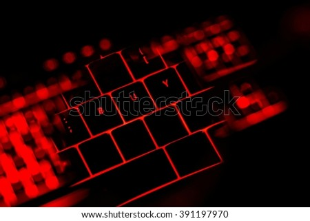 Buy text on the illuminated buttons of the keyboard by night. Internet shopping concept.