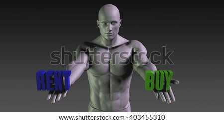 Buy vs Rent Concept of Choosing Between the Two Choices 3D Illustration Render - stock photo
