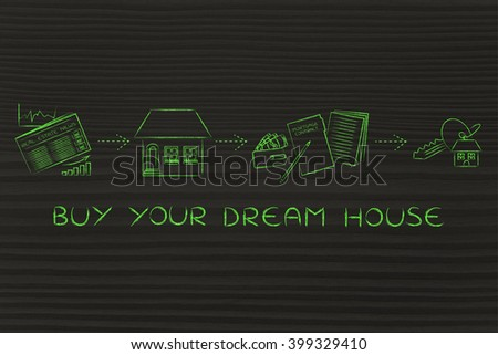 buy your dream house: browse real estate ads, visit, sign, get the keys - stock photo