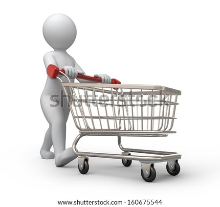 buyer, 3d human and shopping cart - stock photo