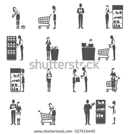 Buyers and supermarket customers black icons set isolated  illustration - stock photo