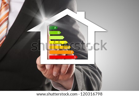 buyers realized his dream of his own energy-efficient house - stock photo