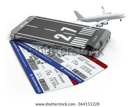 Buying airline tickets online concept.  Smartphone or mobile phone with runway, airplane and boarding pass. 3d - stock photo