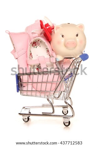 Buying for your new baby shopping trolley cutout