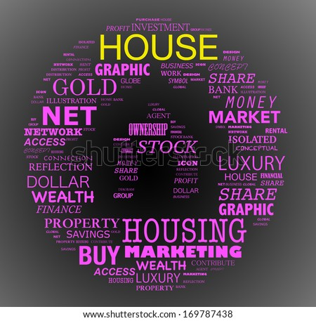 Buying home issues info-text (cloud word) composed in the shape of a house on gradient black background - stock photo