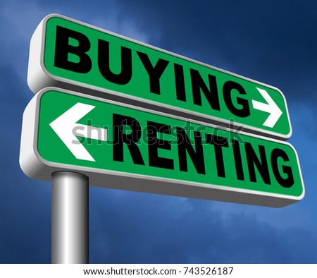 buying or renting mortgage for bank loan for home ownership rent or buy a house a flat building or property   3D, illustration