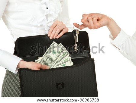 Buying or renting real estate (house, apartment, office); women exchanging keys and money isolated on white - stock photo