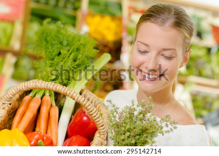 Buying vegetables at the local supermarket