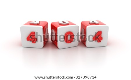 Buzzword Blocks Spelling 404 Text on White Background - Reflections and Shadows - High Quality 3D Rendering - stock photo