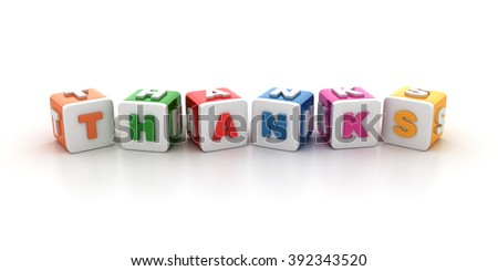 Buzzword Blocks Spelling THANKS Text on White Background - Reflections and Shadows - High Quality 3D Rendering