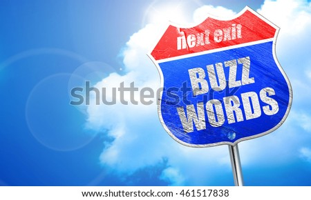 buzzword, 3D rendering, blue street sign