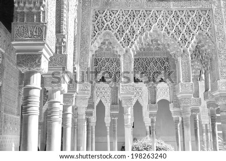 BW Alhambra Palace, Granada, Spain - stock photo
