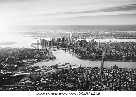 BW dramatic view of the New York City skyline, ports, etc.  - stock photo