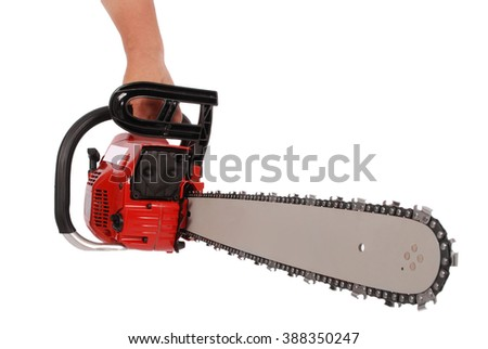 By one hand holding a chainsaw isolated on white