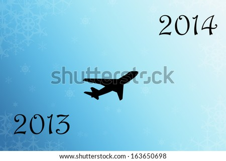 By plane to 2014 - stock photo