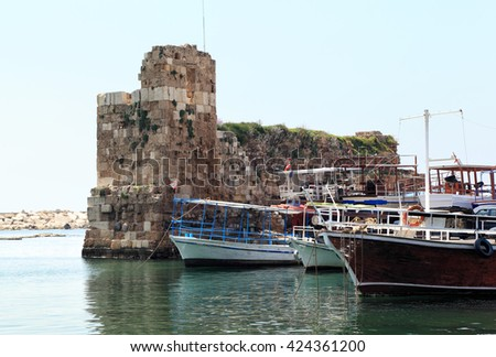 Byblos Harbor, still guarded by the ruins of the ancient fort