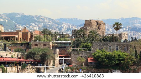 Byblos town with the ruins of the ancient crusader fortress