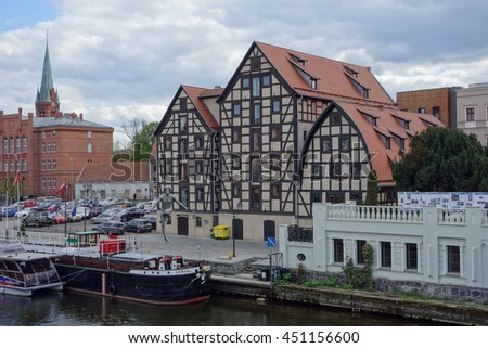 BYDGOSZCZ, POLAND - CIRCA APRIL 2016: Old granary part of Muzeum Orkegowe (meaning Museum District) in the old harbour